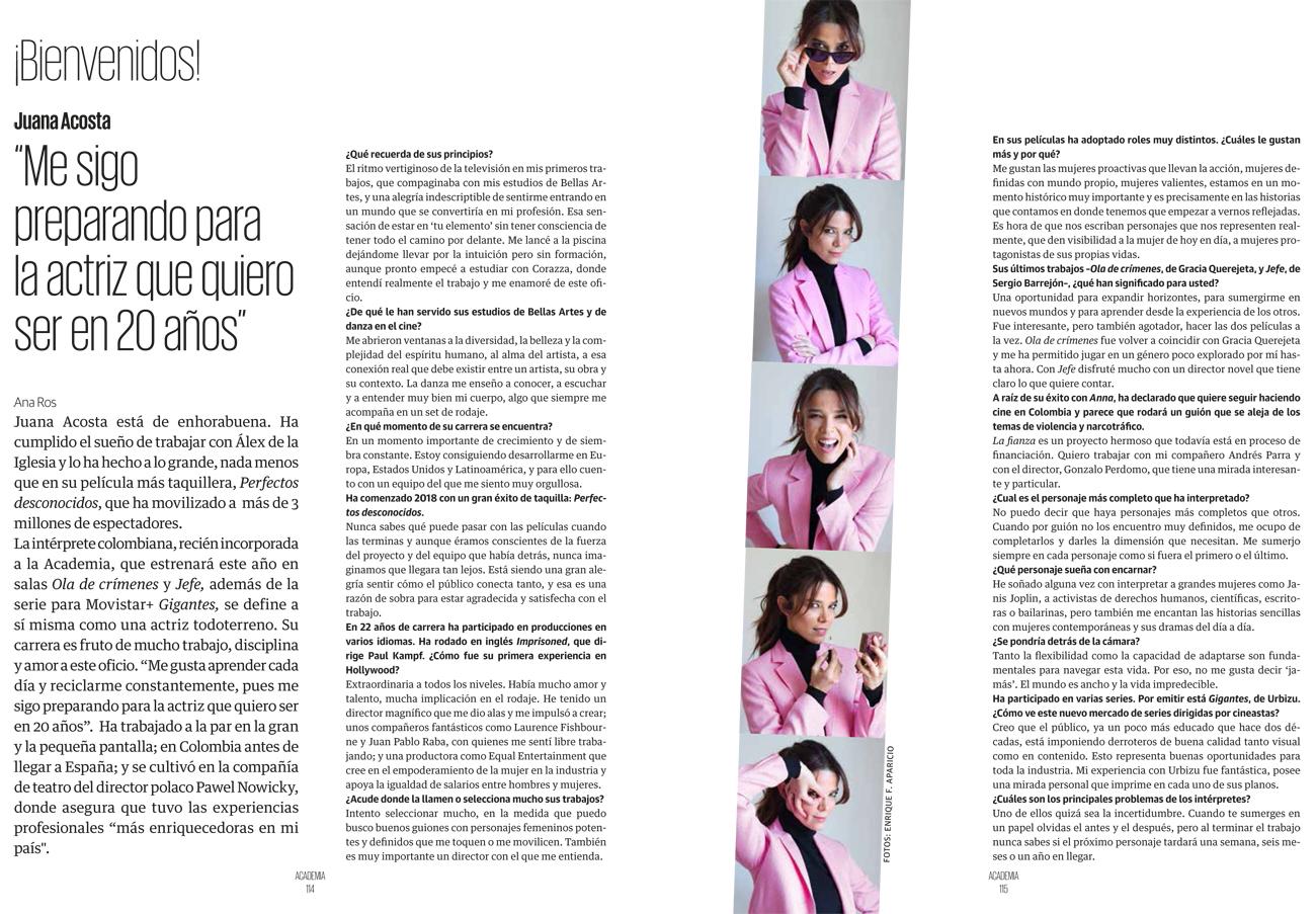 Juana Acosta. Entrevista Academia